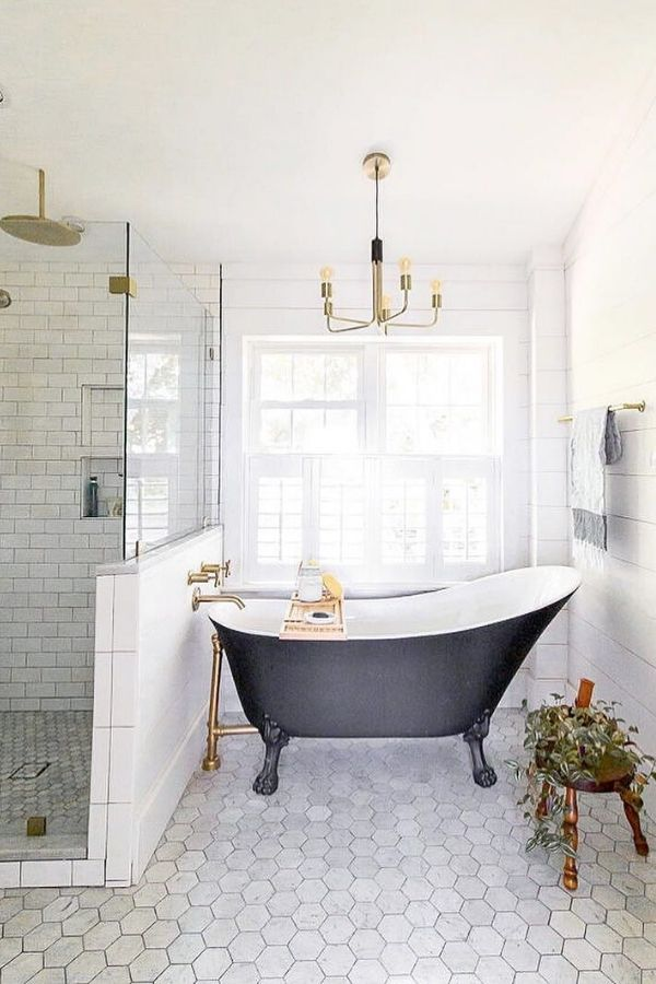 Creating a space that you love is good for your well-being.  Is a freestanding bathtub on your wishlist?  Proceed for some freestanding bathtub inspiration! #bathroomideas #homedecor #inspiration #bathroomdecorideas #freestandingbathtub