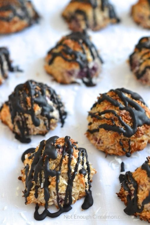 Chocolate And Raspberry Coconut Macaroons - notenoughcinnamon.com | 20+ Guilt-Free Dessert Recipes | Tulip and Sage