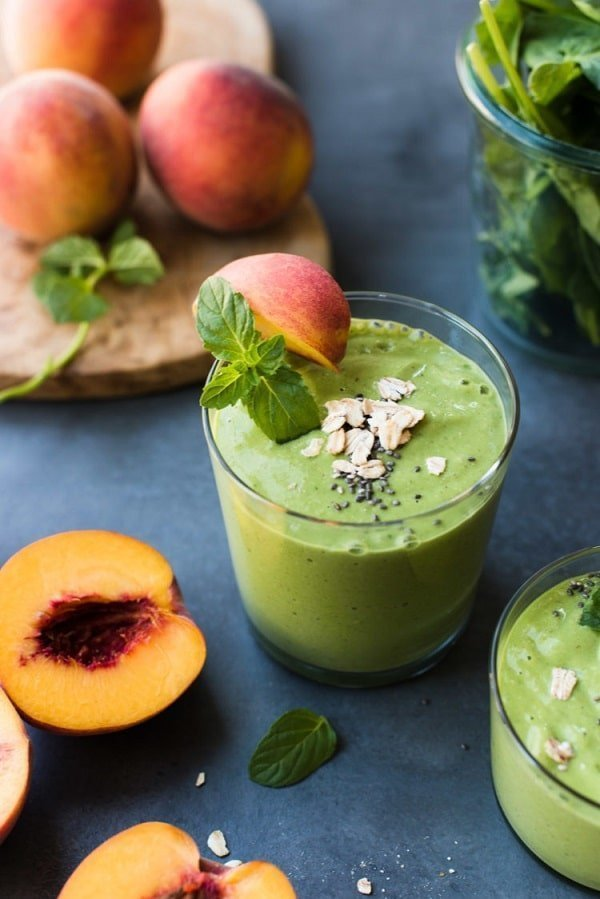 Peaches and Cream Green Breakfast Smoothie - Kitchen Confidante |  5 Healthy Summer Smoothie Recipes | Tulip and Sage