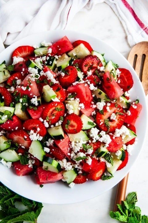 Watermelon strawberry cucumber salad with feta cheese and fresh mint -  aberdeenskitchen.com  |  20+ Quick & Delicious Summer Salad Recipes - Tulip and Sage