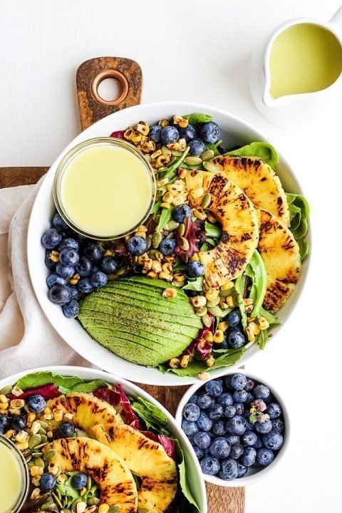 Grilled Pineapple Salad + Creamy Citrus Dressing - thewoodenskillet.com  |  20+ Quick & Delicious Summer Salad Recipes - Tulip and Sage