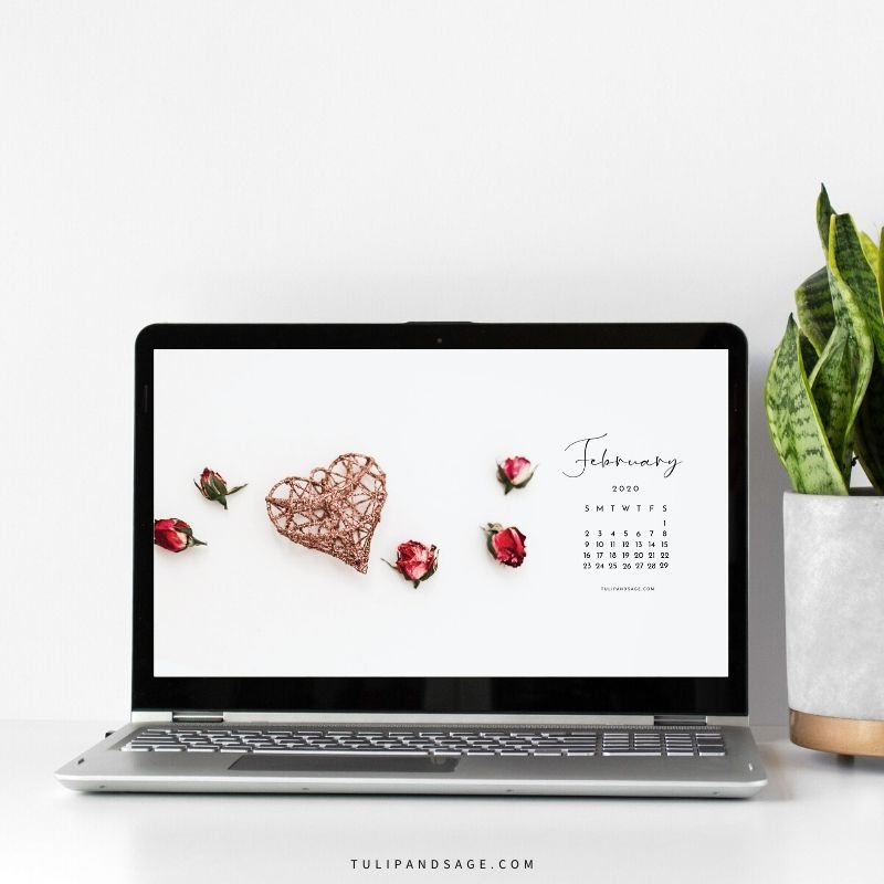 Looking to refresh your screens for next month?  Grab our February 2020 Desktop Wallpaper!  Did I mention it's a freebie?! #digitalwallpaper #desktopwallpaper #februarywallpaper #freedownload #freebies