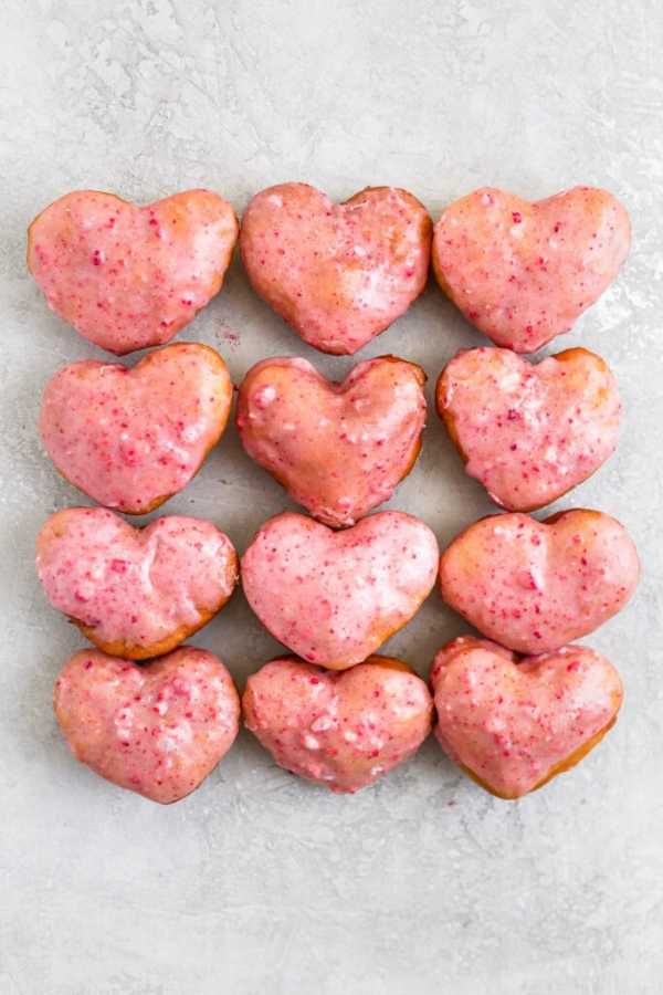 Strawberry Heart Dairy-Free Donuts - frostingandfettuccine.com
