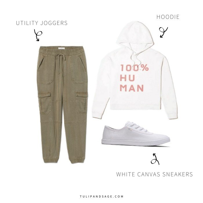 Are you working from home but stuck in your PJs all day long?  Here are some work-from-home outfit ideas to keep you feeling comfortable AND productive!  #workfromhomeoutfits #sustainablefashion #veganfashion #tulipandsage