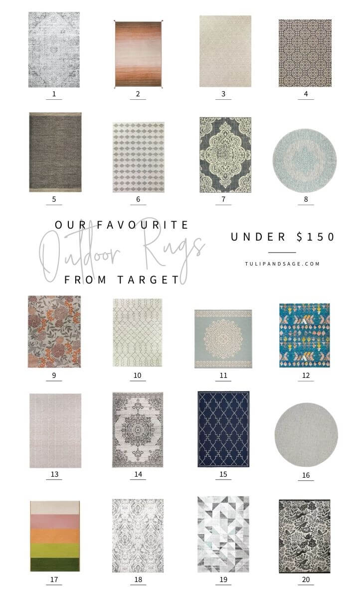 Are you decorating your outdoor space and looking for affordable rugs? Here are our favourite outdoor rugs from Target, all under $150! #tulipandsage #targethomedecor #targetoutdoorrug #targetoutdoordecor