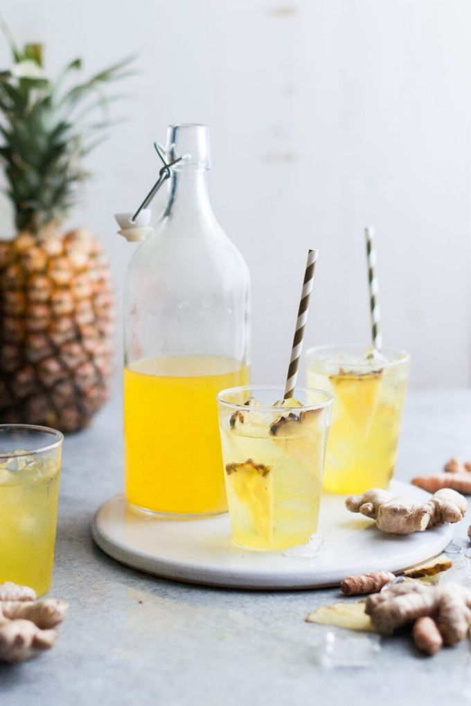 Pineapple Ginger Iced Tea - thekitchenmccabe.com // There's nothing like enjoying a fresh cold glass of iced tea on a hot summer's day!  Here are 10 Healthy Iced Tea Recipes you must try this summer!  #tulipandsage #healthyicedtearecipes #healthyicetea #icedtearecipes