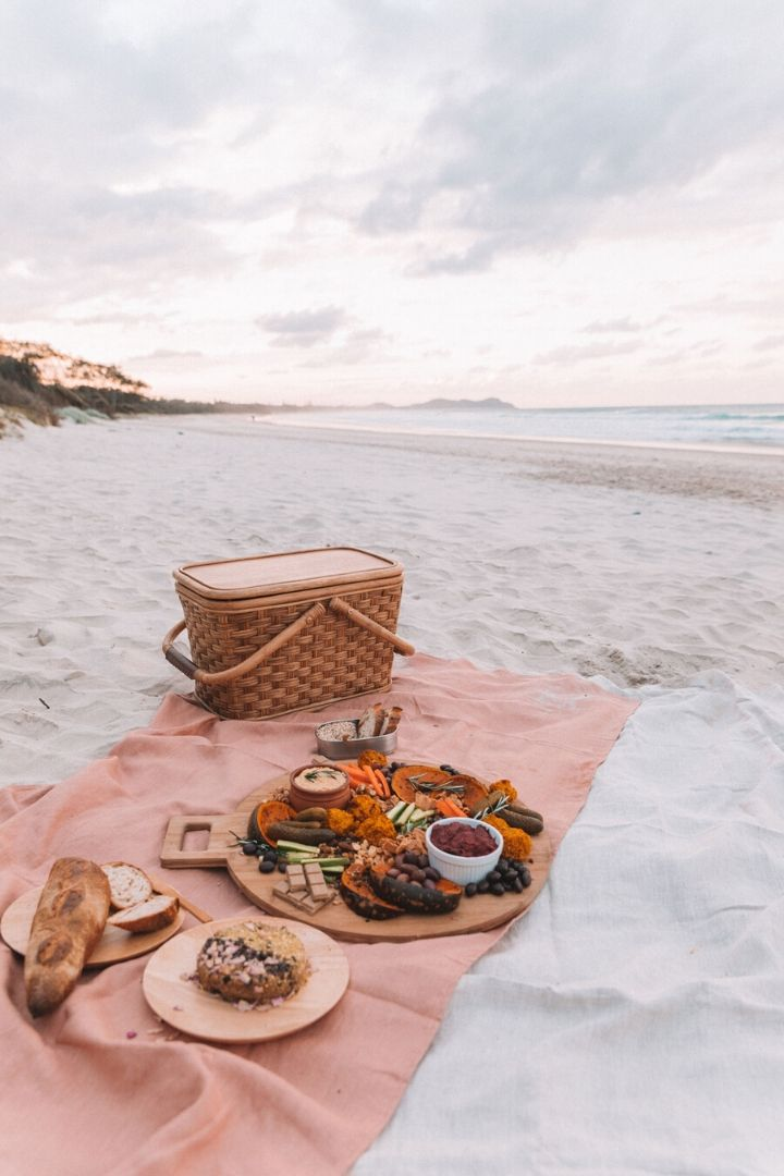 Photo Credit - blog.spell.co // I'm craving some sunshine.  And I'm currently daydreaming of a beach picnic!  If you share in this daydream, here's some serious beach picnic inspo for ya! #tulipandsage #beachpicnic #beachpicnicaesthetic #beachpicnicideas