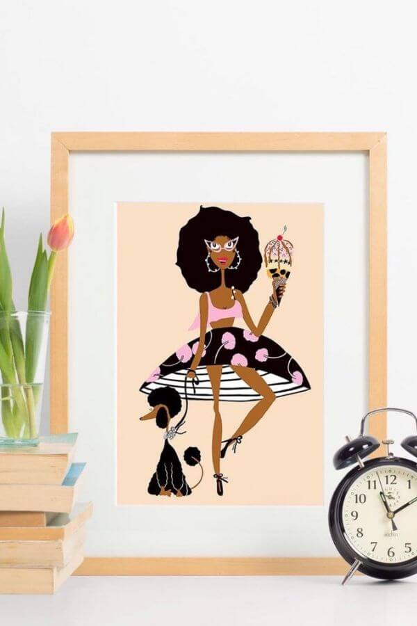 Photo Source: LovelyEarthlings via Etsy / We're sharing 6 Black-Owned Etsy Shops that we love!  Find adorable prints, pretty fiber art, one-of-a-kind jewelry, and colourful planters! #etsyshops #etsyshopstofollow #blackownedetsyshops #etsyfavorites