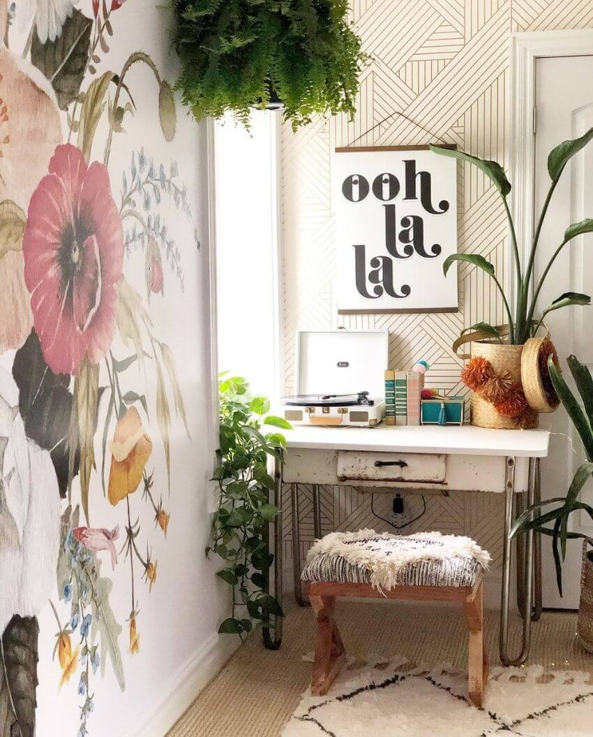source: anewall.com/ We're currently coveting floral wallpaper!  Are you?  These pretty prints can really transform a room.  Here are some of our favourite spaces! #floralwallpaper #flowerwallpaper #wallpaperdecor #wallpaperdecorideas