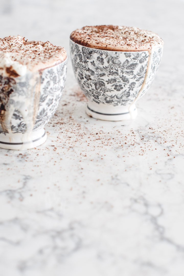 If you're looking for a hug in a mug this winter, give this Dark Hot Chocolate recipe a try!  It's made with dark chocolate, a great source of antioxidants! #darkhotchocolate #darkhotchocolaterecipe #homemadehotchocolate #darkchocolatehotchocolate