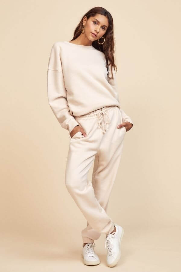 source: reformation/ Here are some eco-friendly sweats you'll love!  These cozy finds are made with eco-friendly fabrics such as organic cotton, recycled polyester, or tencel. #ecofriendlysweats #ecofriendlysweatshirt #ecofriendlysweatpants #sustainablesweats